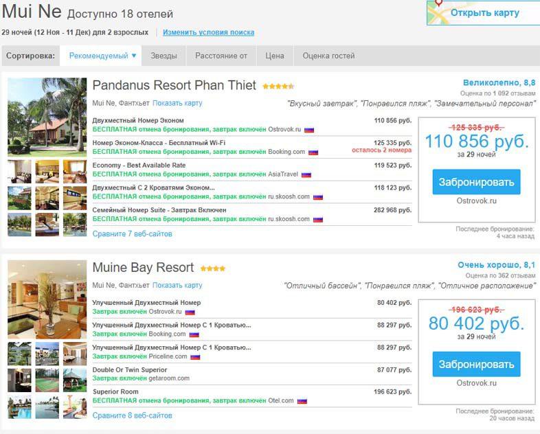 Список отелей, рекомендованных RoomGuru