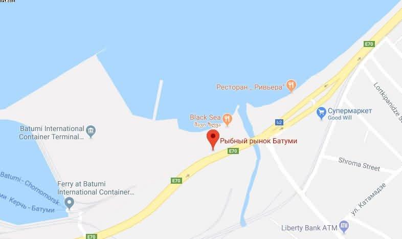 Рыбный рынок Батуми на карте