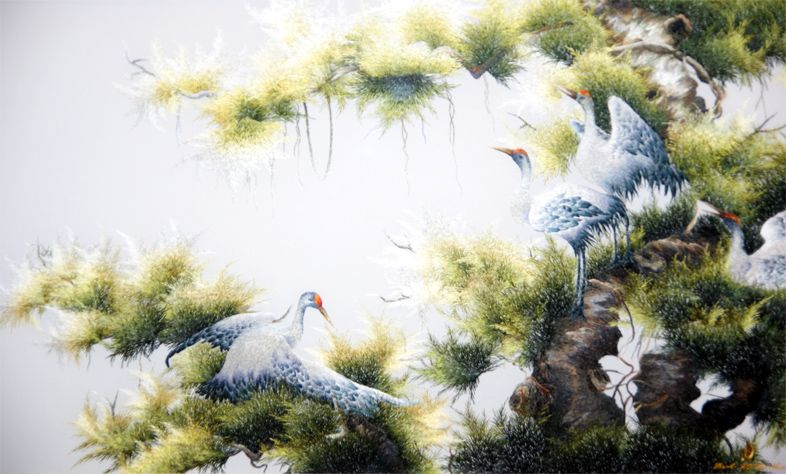 Вьетнамская шелковая картина