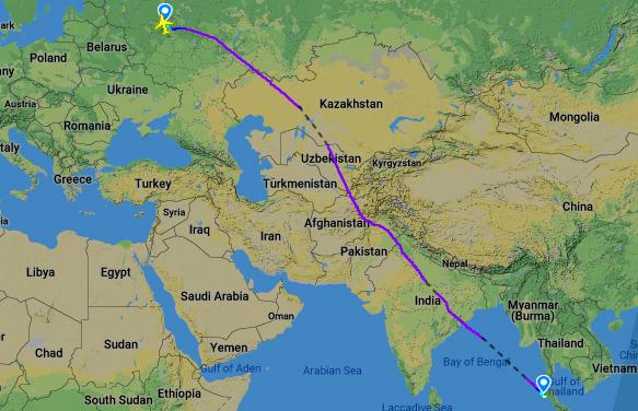 Рейс Москва-Пхукет на карте