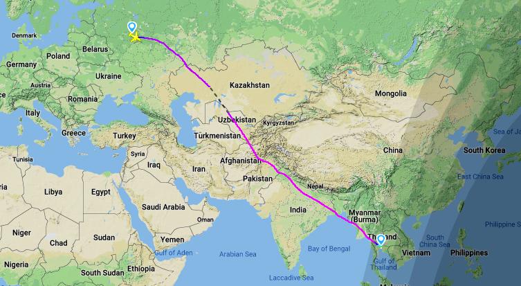 Траектория полета рейса Москва-Бангкок